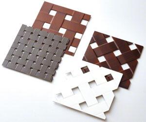 パンチングメタルに編み込みのような成形加工を施した製品(クロスパンチング 塗装)