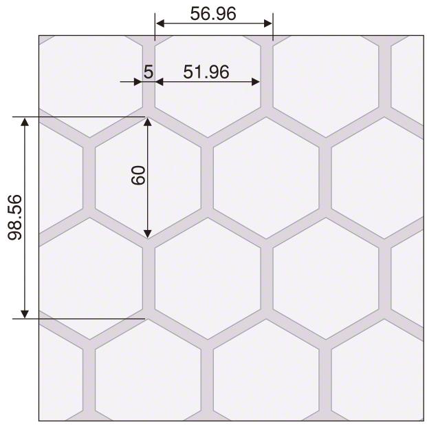 デザインエンボス(亀甲 パターン図
