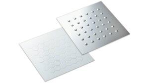 金属材料にエンボス加工により凹凸をつけて立体的な表現を施した内装・外装パネル(デザインエンボス)
