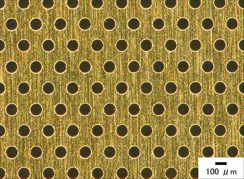 材質:金 孔径:100 μm 厚さ:10 μm