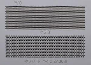 厚い樹脂材(PVC)への孔あけ加工