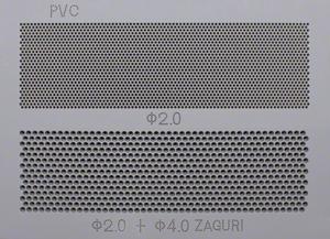樹脂パンチングの加工例(厚い樹脂材(PVC)への孔あけ加工)